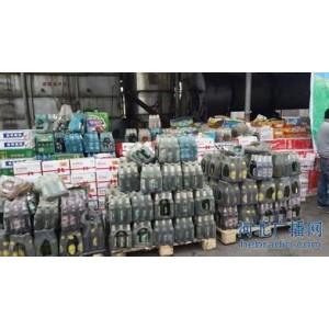 上海松江区食品干果销毁中心,上海江桥变质食品饮料销毁拍摄过程