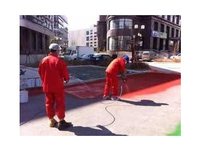 香港区黑色沥青路面改色彩色路面喷涂修复