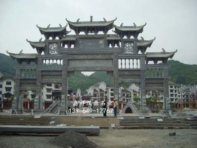 天然花崗巖雕刻 三門五樓石牌坊 旅游景區標志石雕牌樓