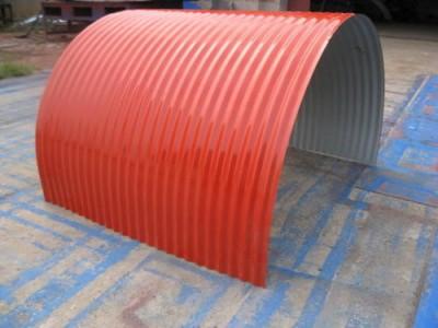 南通翔展定制各种型号彩钢弧形瓦 防雨罩 防雨棚
