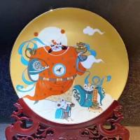 景德镇鼠年财神摆盘纪念盘公司企业商务年终礼品陶瓷定制批量订制