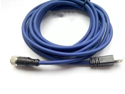 科迎法M12 4芯預鑄工業以太網連接器;雙端預制RJ45接頭